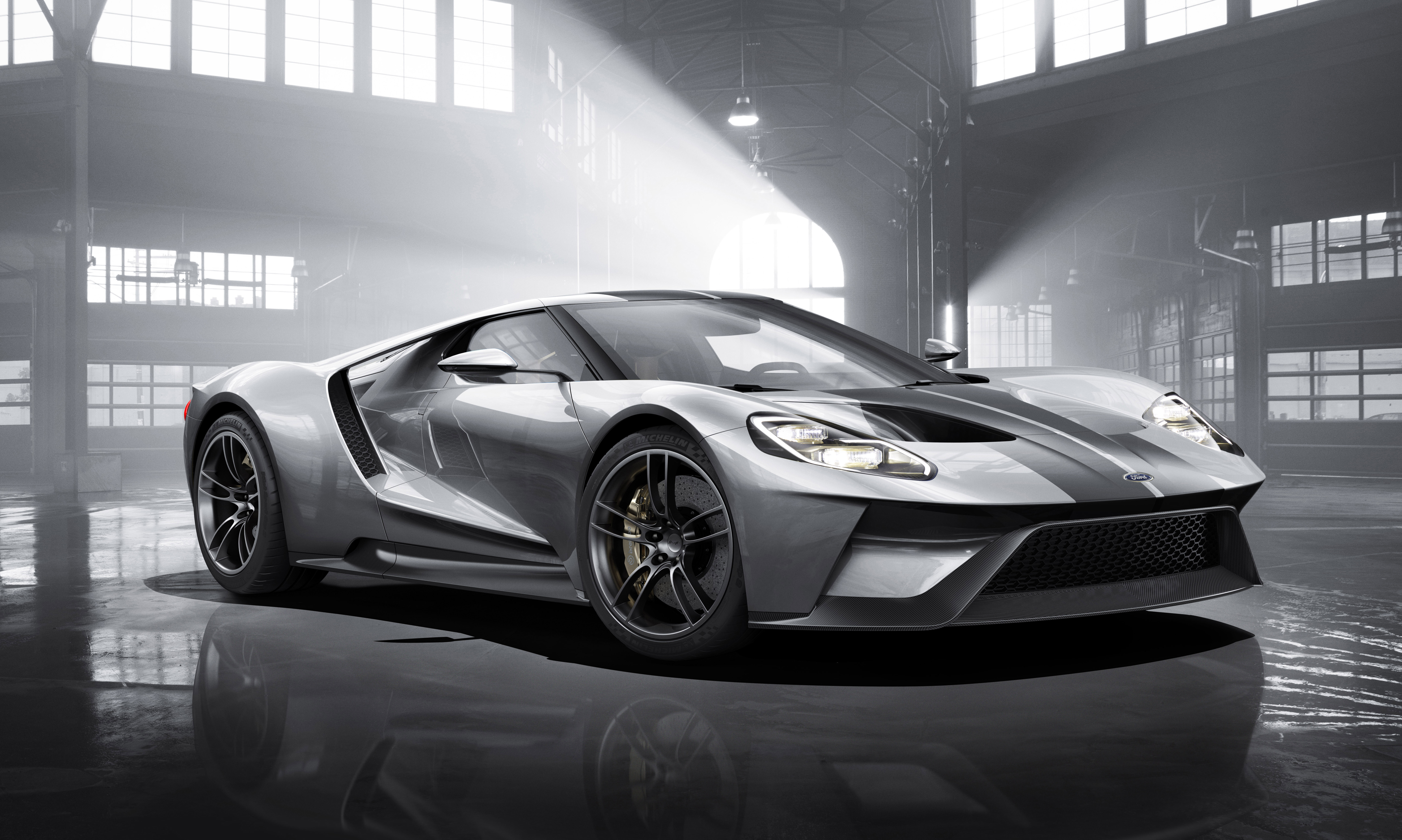 All-new Ford GT in Liquid Silver, L-R, 3/4 Front Shown, February 2015