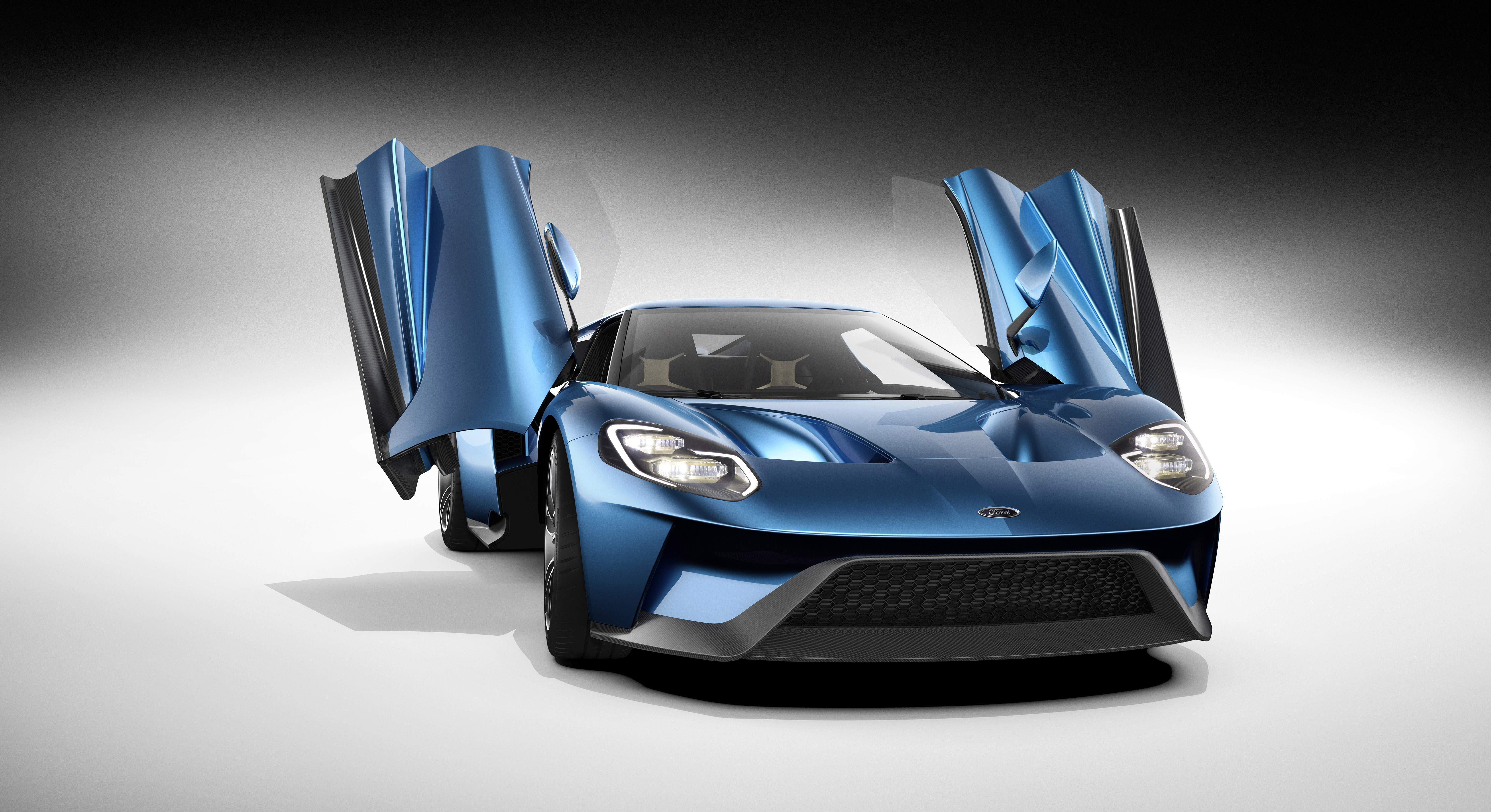 All-New Ford GT Front View, Open Doors, January 2015